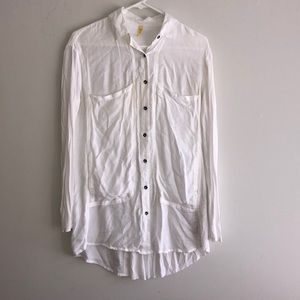 Free People White Button Up
